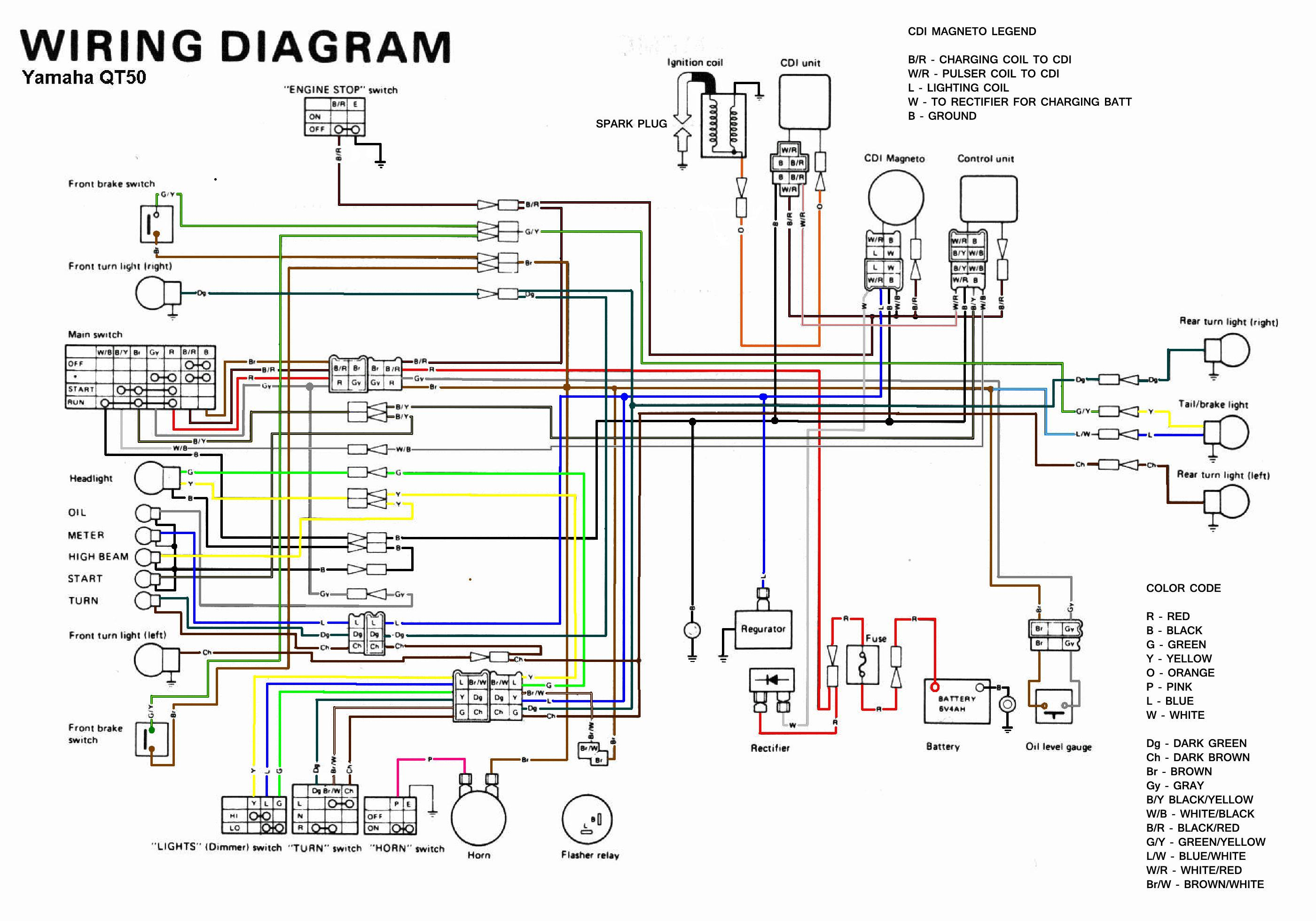 yamaha qt50 color coded schematic — moped army yamaha dt200r wiring diagram