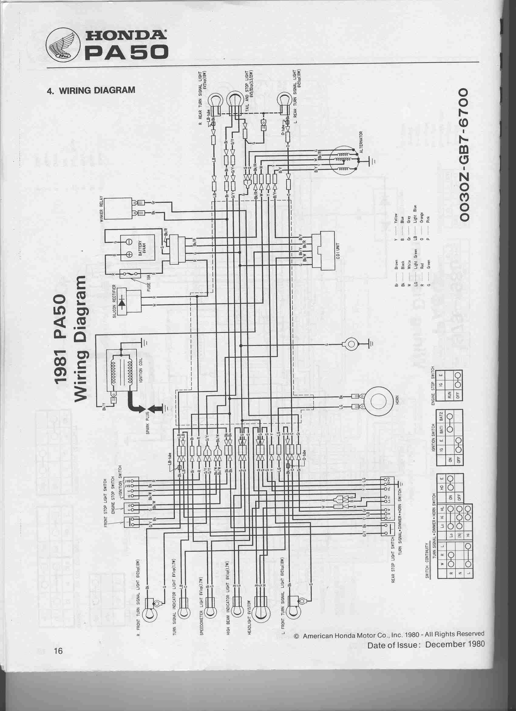 re 1983 honda nu50 battery wiring