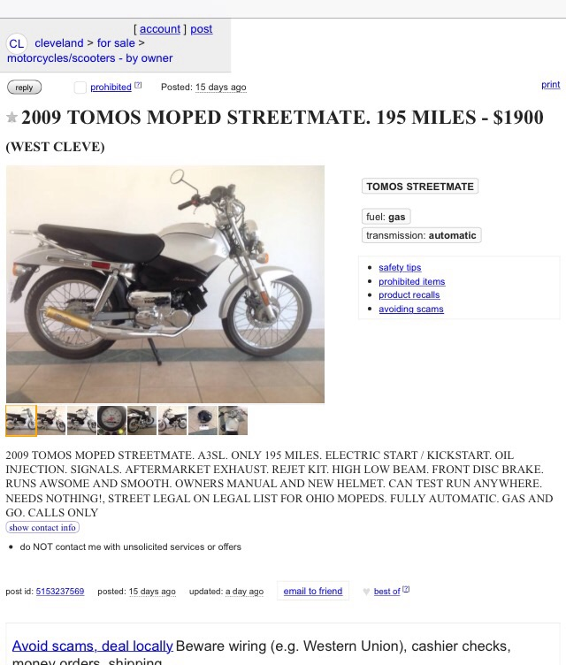 New Ebay Crazy Prices Award Goes Too Moped Army