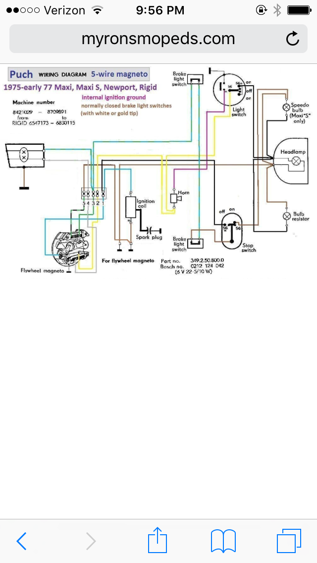 Puch 76 Newport Headlight Dims with Horn and No Tail Lights ... Headlight Wiring Diagram Wires on