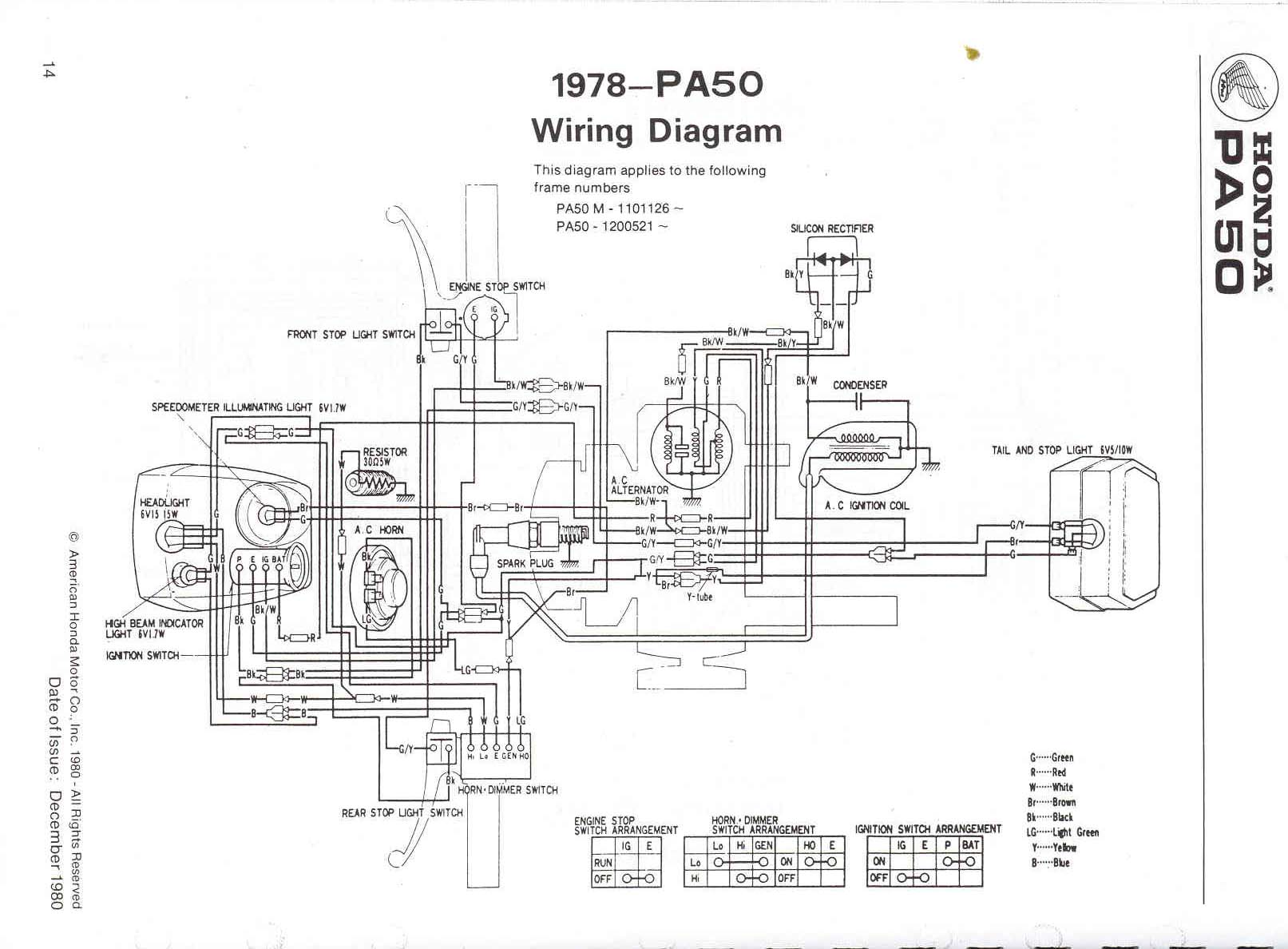 Re: Wiring diagram 1980 Honda PA 50 — Moped Army