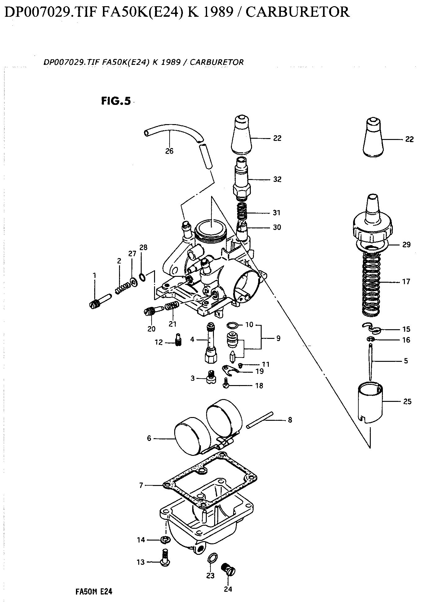 Suzuki FA50 Carburettor Diagram & Parts list jpgs' — Moped