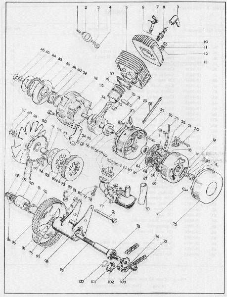 1971 Ariel 3, Exploded engine view