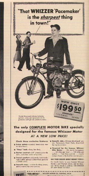 Whizzer Pacemaker, Newspaper Ad