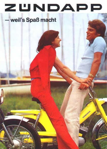 1975 Zündapp, Girl and Guy on Yellow Moped