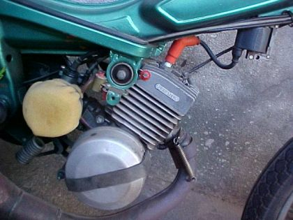 1974 Mobylette, with kit Eurokit 75cc closeup