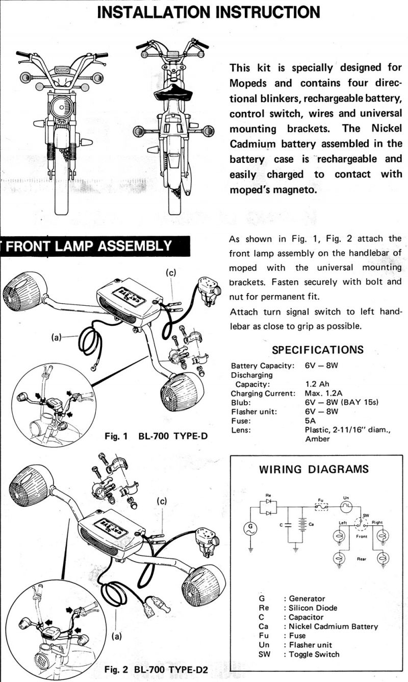 Cateye BL-700 Turn Signal Wiring Diagram/Manual — Moped Army