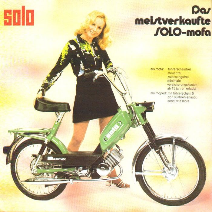 1974 Solo, Girl w/ Green Moped