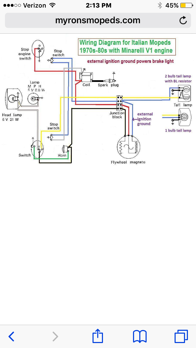 moped ignition switch wiring diagram minarelli v1 wiring to cev 196 switch     moped army  minarelli v1 wiring to cev 196 switch