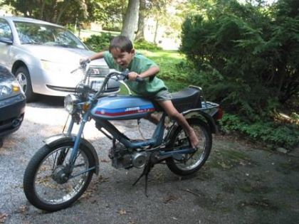 1982 Jawa Supreme 2, with child
