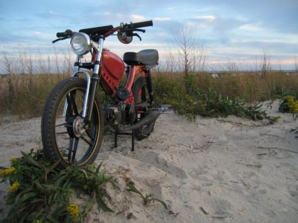 1976 Puch, on the beach