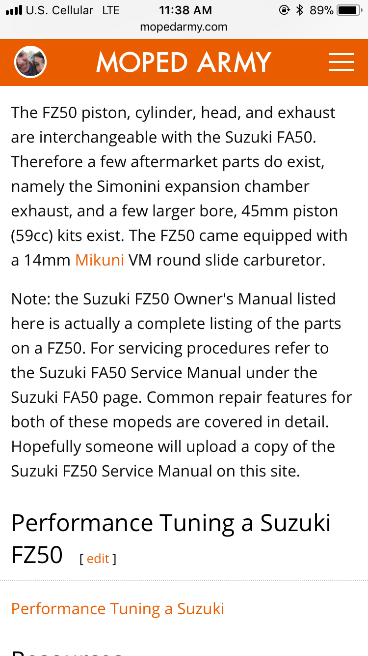 Suzuki Fz50 Aftermarket Parts Wiring Diagram Re Carb Airbox Petcock 50 Shipped Moped Army