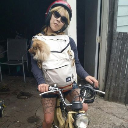 Moped with dog