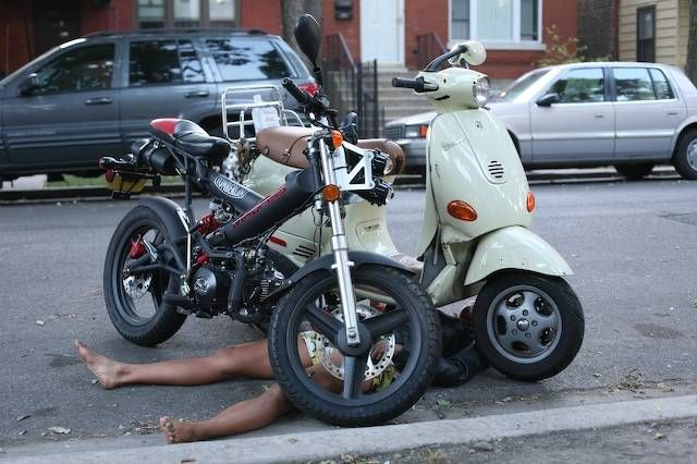 2006 Sachs MadAss, w/ Vespa on top of person