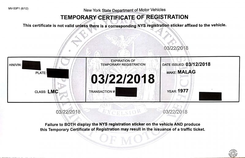 Re: NY Registration Renewed $6.25
