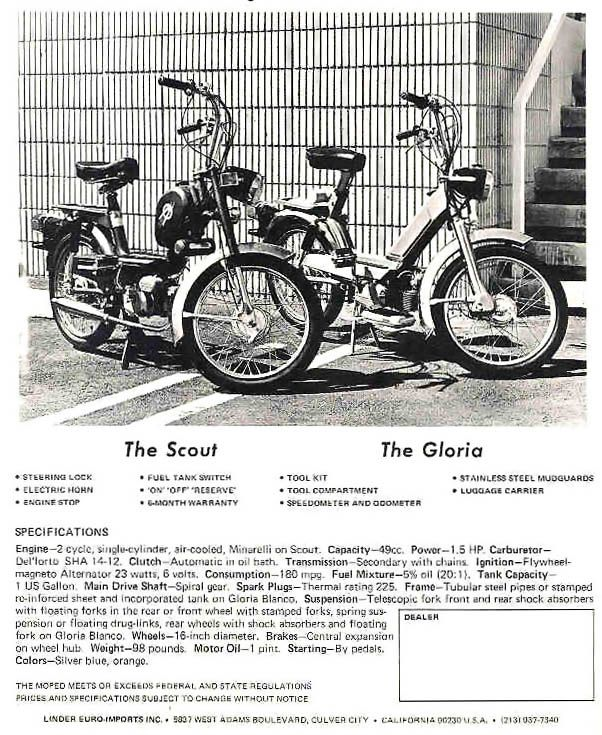 Gloria Intramotor Scout brochure + Service Manual — Moped Army