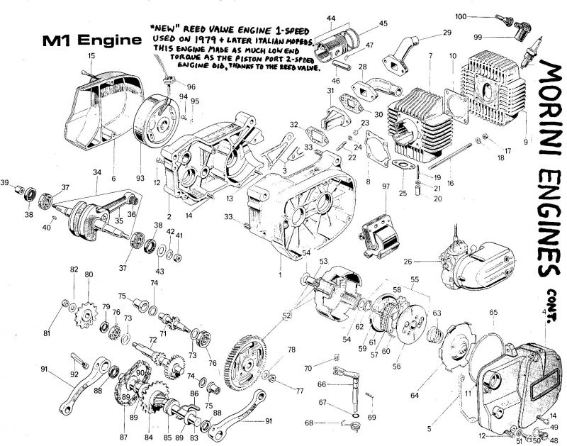 Franco Morini M1 Engine Part Numbers — Moped Army