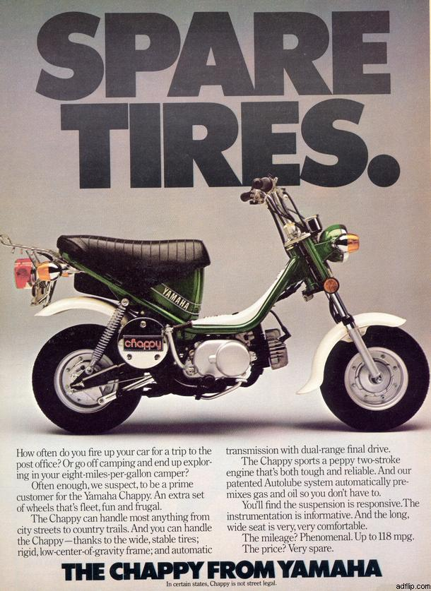1978 Yamaha LB-50 Chappy (Spare Tires Ad)