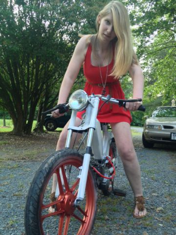Tomos A 3 Bullet Girl In A Red Dress Moped Photos
