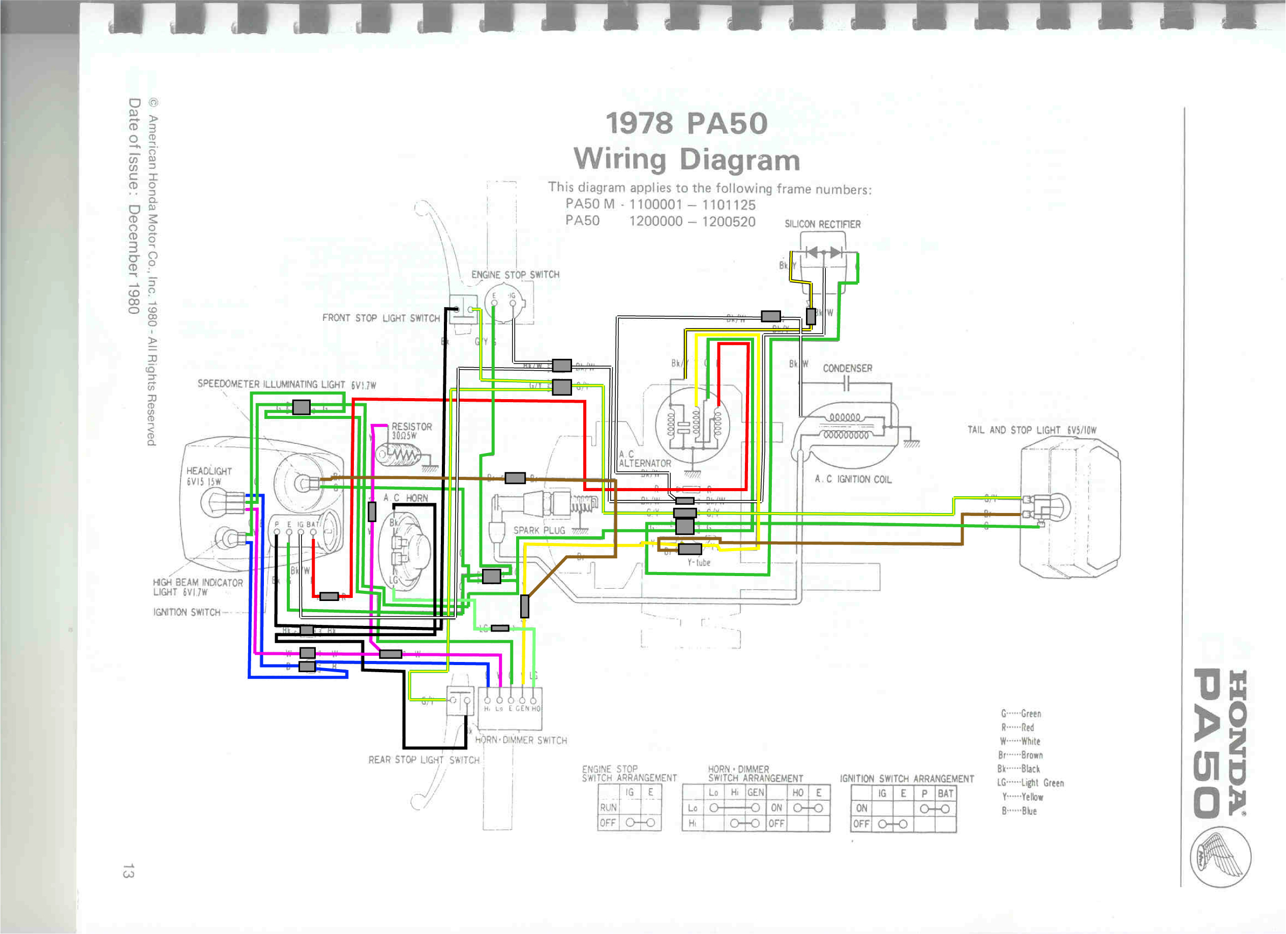 78hobbitwiring electrical schematics pa50 ii honda pa50 ii pinterest 1978 honda pa50 wiring diagram at gsmx.co