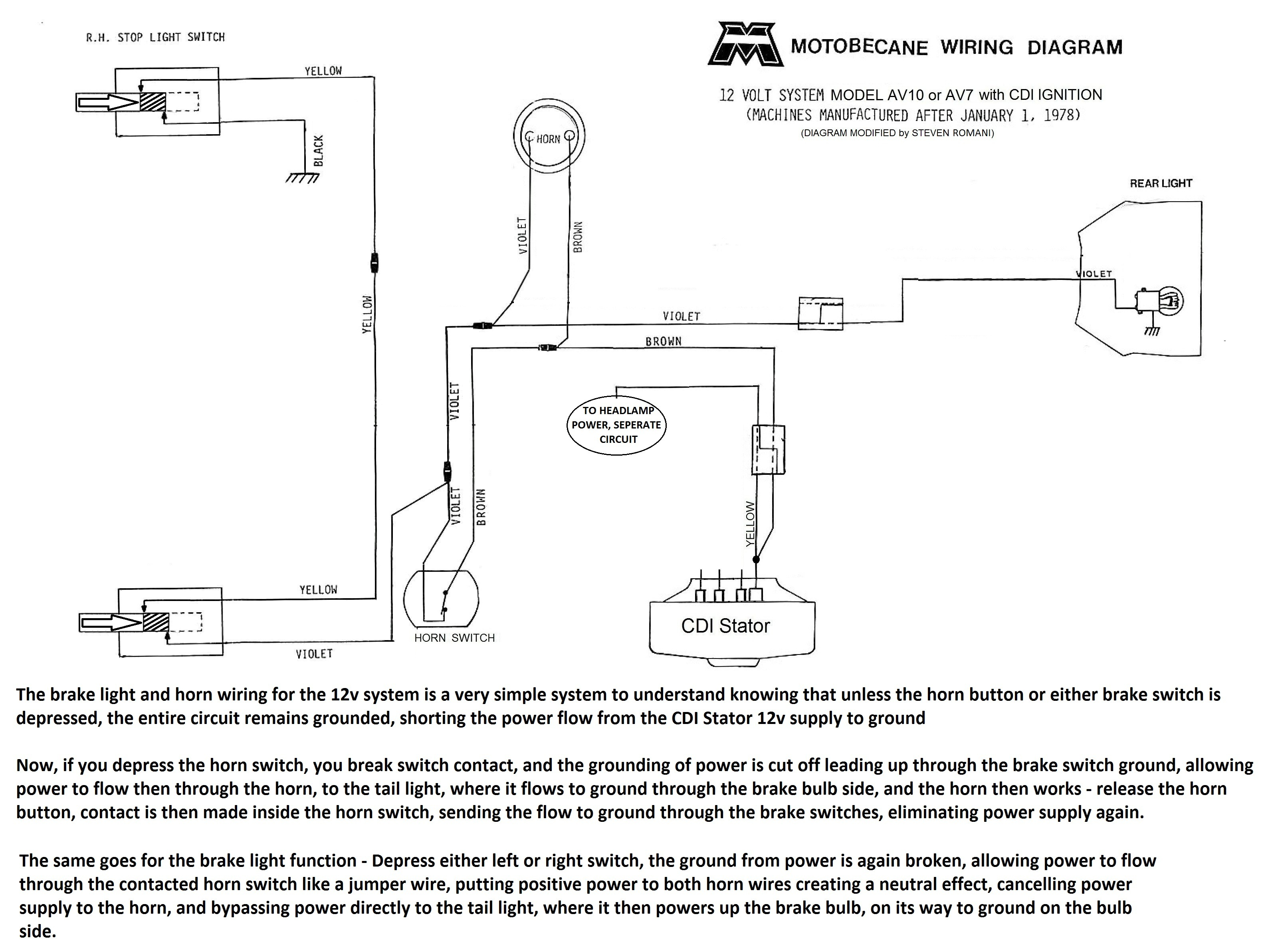 Motobecane Wiring Diagrams Moped Wiki Basic 12 Volt Electrical 12v Cdi Diagram Av10 Secondary Power