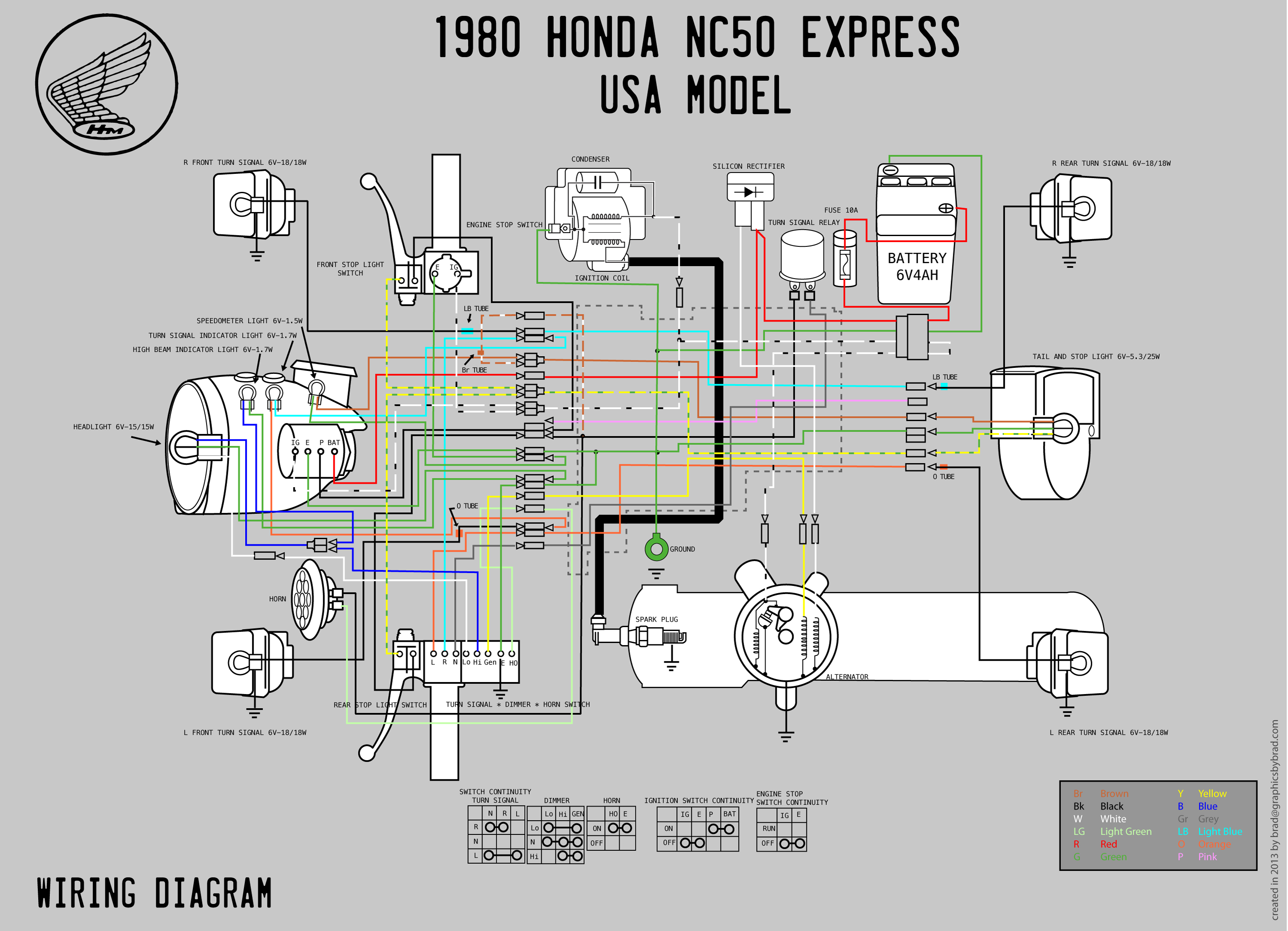 Honda Nc50 Wiring Diagram : Honda nc wiring diagram moped wiki