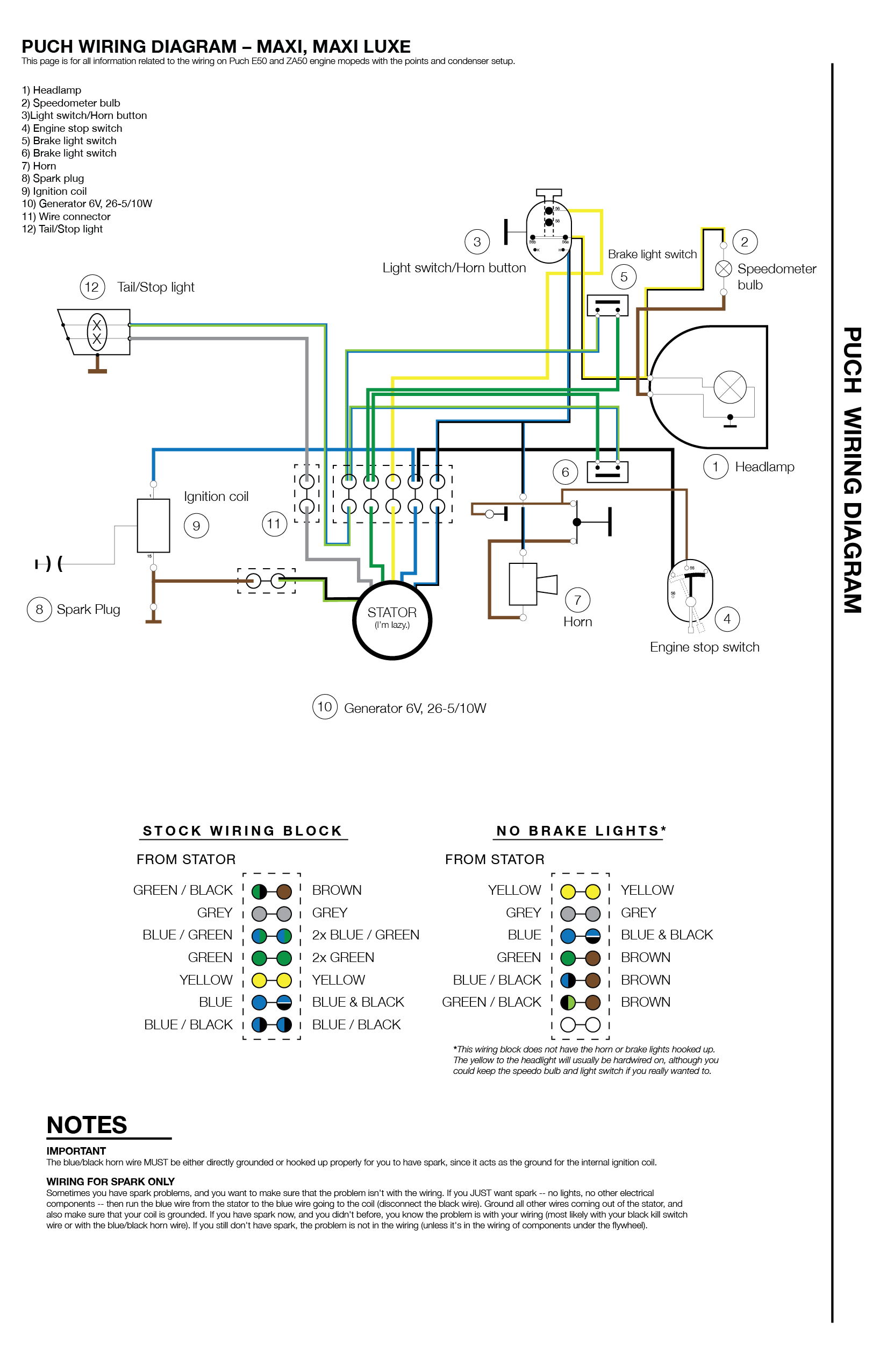Scooter Ignition Switch Wiring Diagram from www.mopedarmy.com