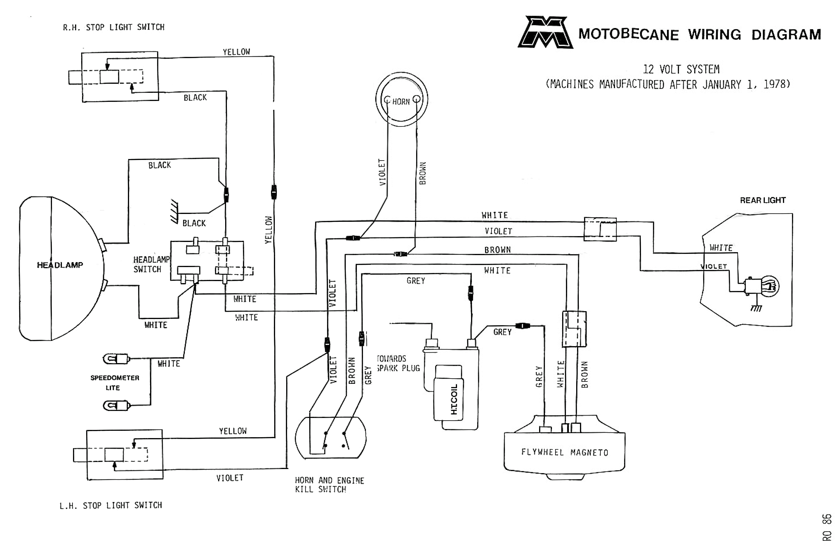 Motobecane wiring diagrams - Moped Wiki on 12 volt battery bank wiring, 12 volt solenoid wiring diagram, 12 volt wiring systems, 12 volt alternator wiring diagram, 12 volt solar wiring diagram, 12 volt battery in series diagram, 12 volt rv wiring diagram, pinout diagrams,